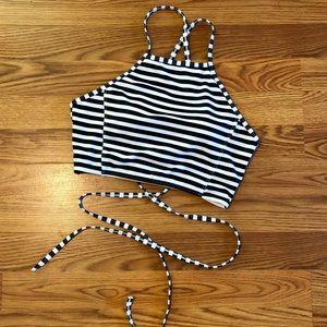 Striped Strappy Halter Bikini Top
